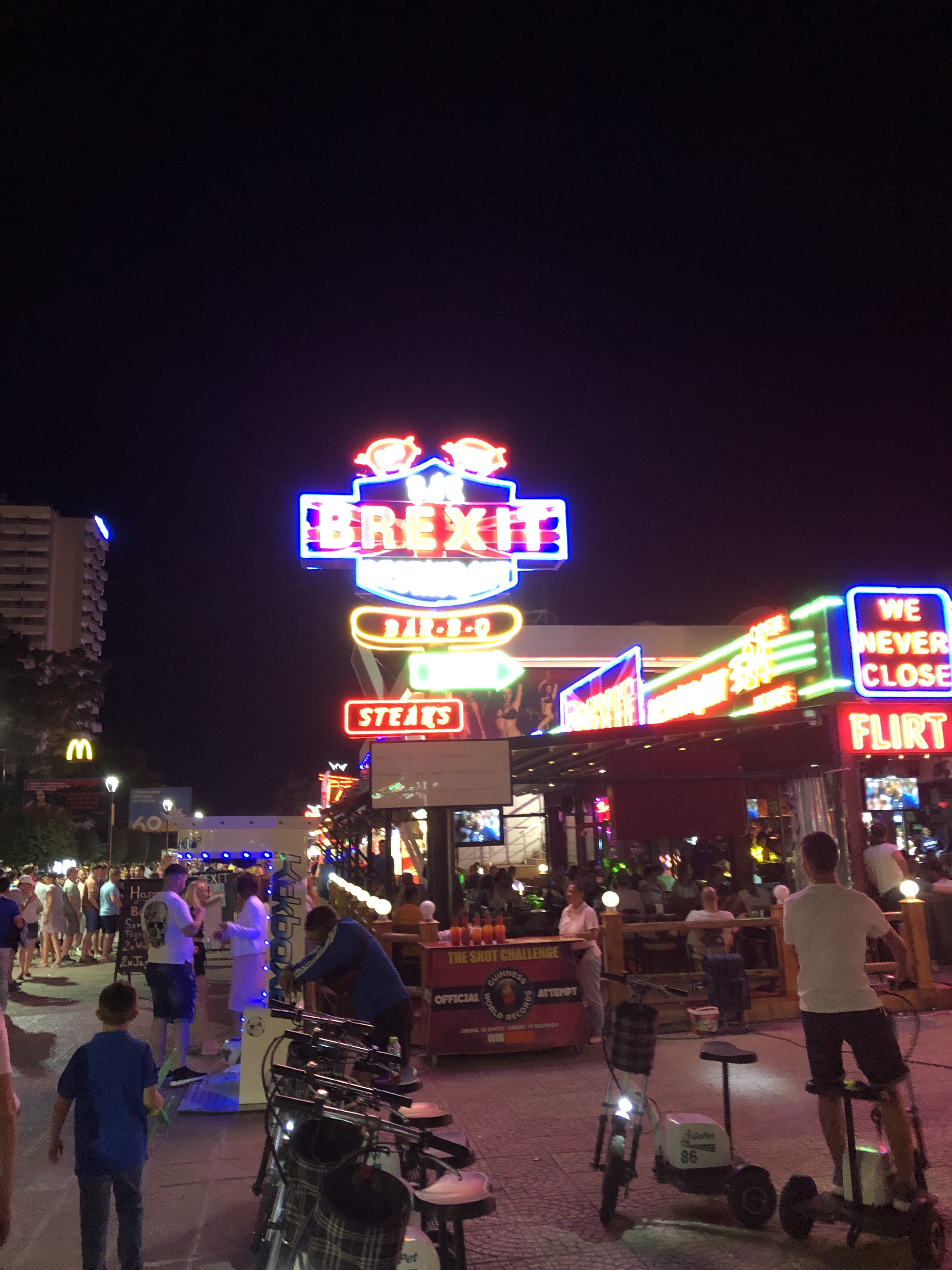 Sunny beach by night